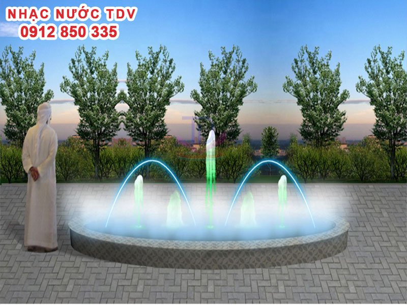 Mẫu nhạc nước bể hình tròn - Nhạc nước hồ tròn 1