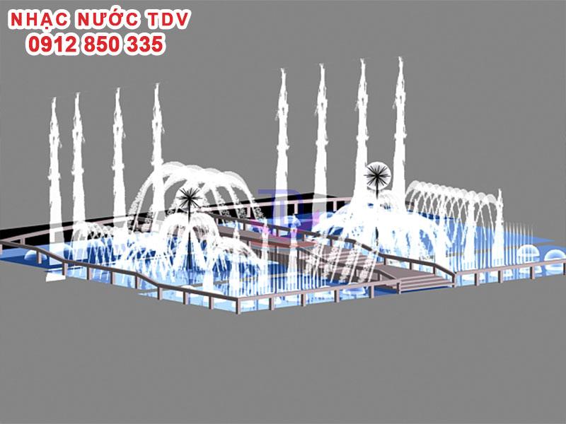 Thiết kế Nhạc nước bể hình chữ nhật - Nhạc nước bể dài 18