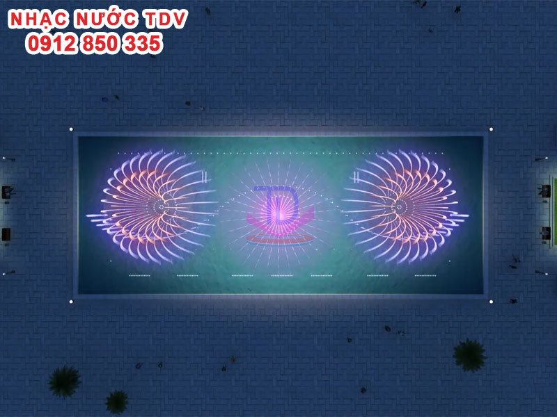Thiết kế Nhạc nước bể hình chữ nhật - Nhạc nước bể dài 22