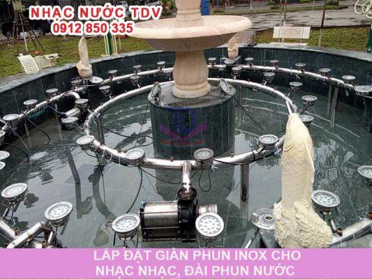 Gia công giàn phun inox cho nhạc nước, đài phun nước